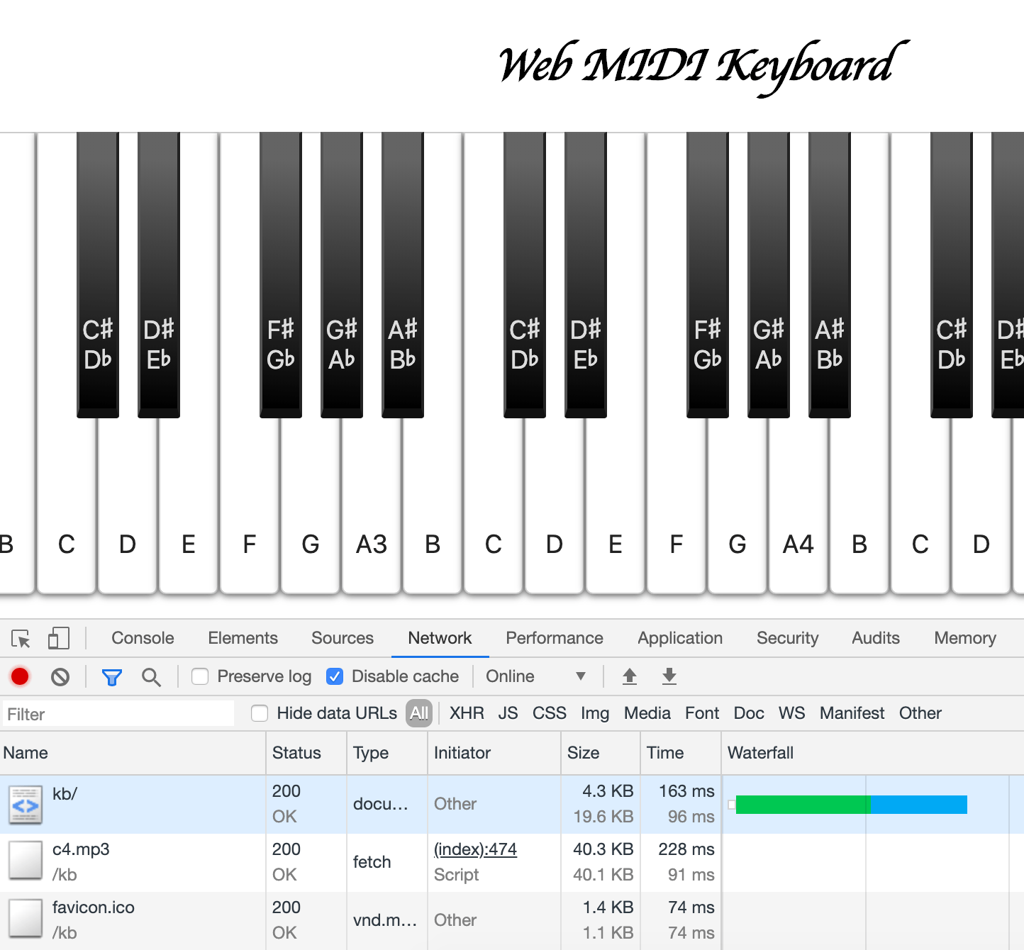 webmidikeyboard waterfall