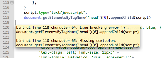 JSLint results in TextMate