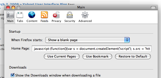 Setting the Home to a javascript bookmarklet in Firefox